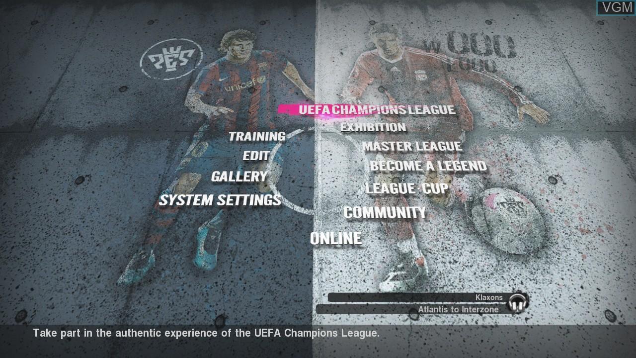 Menu screen of the game Pro Evolution Soccer 2010 on Microsoft Xbox 360
