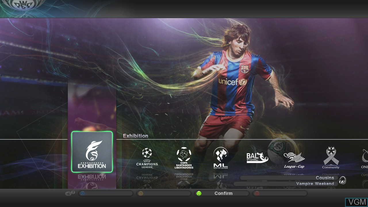 Menu screen of the game Pro Evolution Soccer 2011 on Microsoft Xbox 360