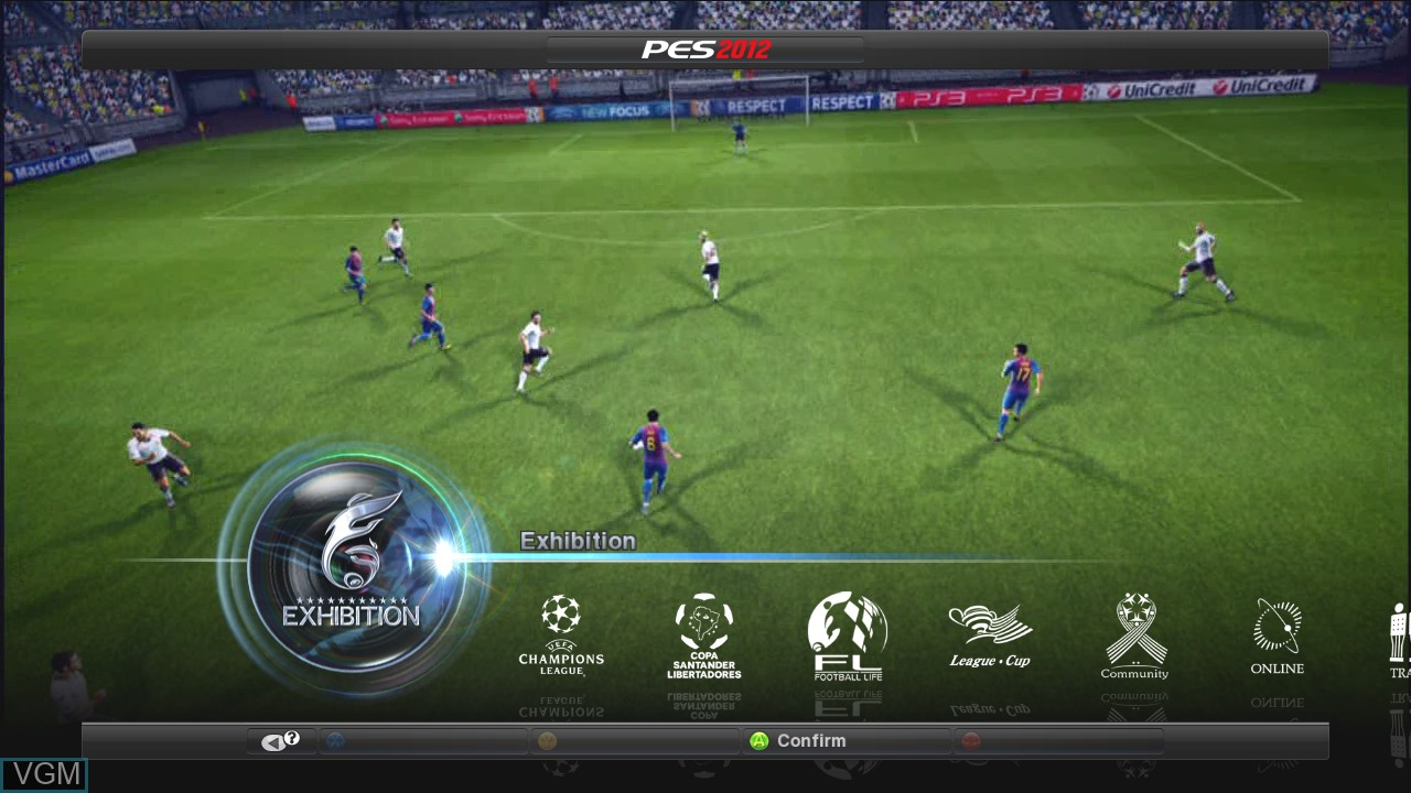 Menu screen of the game Pro Evolution Soccer 2012 on Microsoft Xbox 360