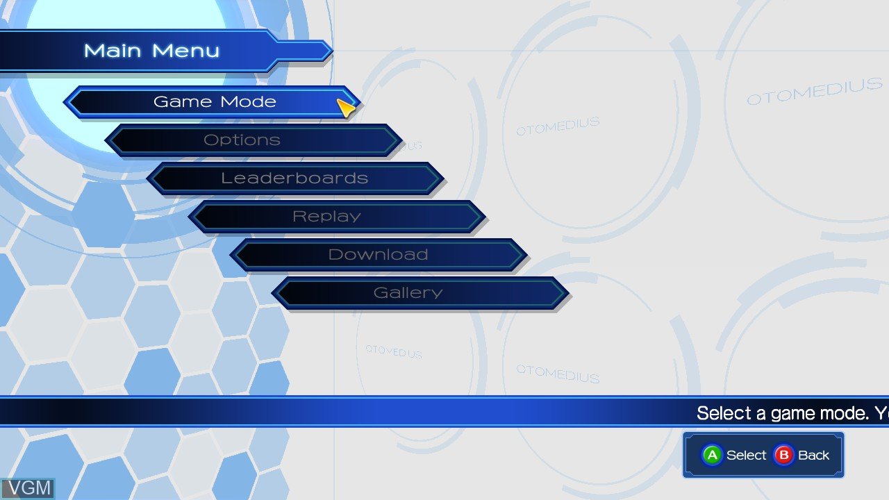 Menu screen of the game Otomedius Excellent on Microsoft Xbox 360