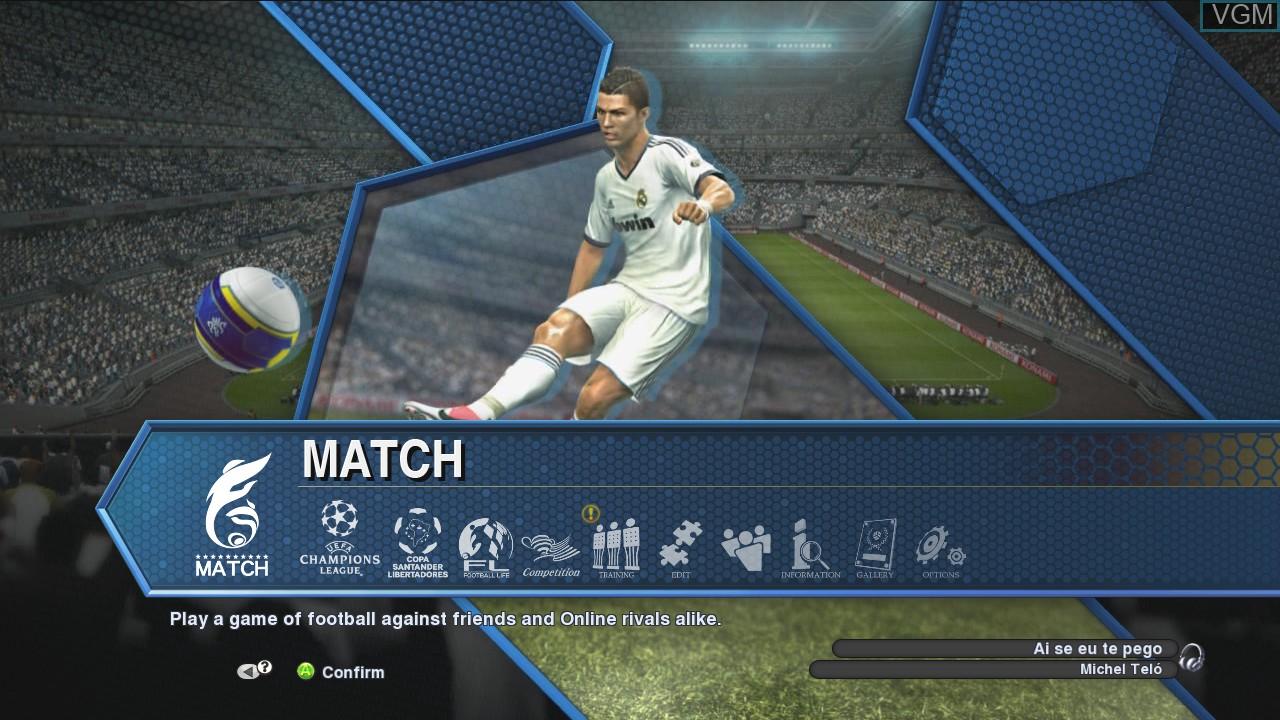Menu screen of the game Pro Evolution Soccer 2013 on Microsoft Xbox 360