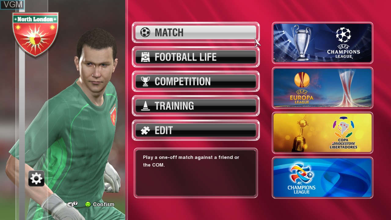 Menu screen of the game Pro Evolution Soccer 2014 on Microsoft Xbox 360