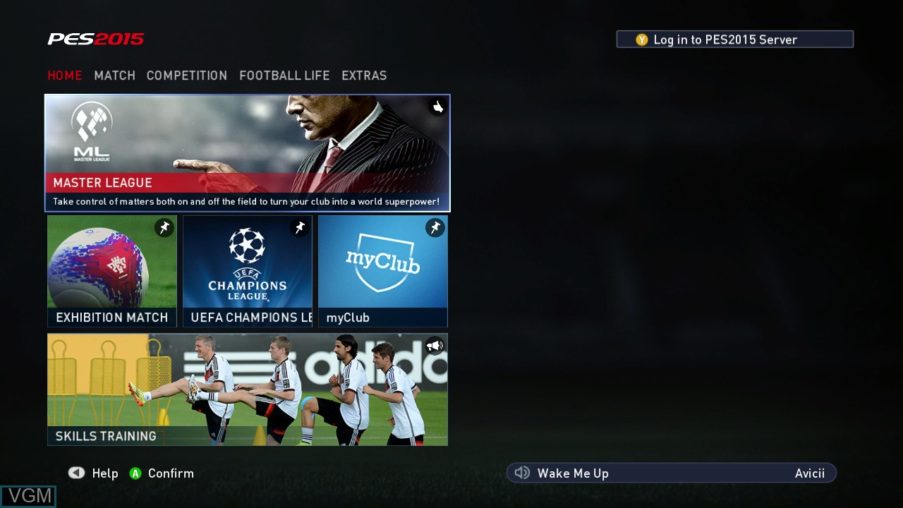 Menu screen of the game Pro Evolution Soccer 2015 on Microsoft Xbox 360