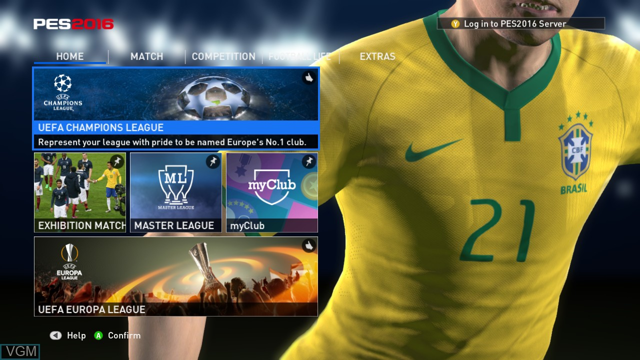 Menu screen of the game Pro Evolution Soccer 2016 on Microsoft Xbox 360