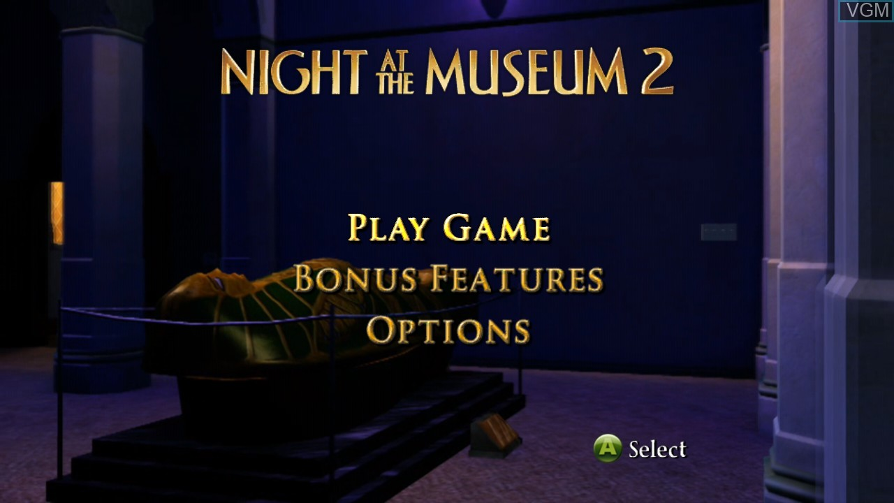 Menu screen of the game Night at the Museum 2 on Microsoft Xbox 360