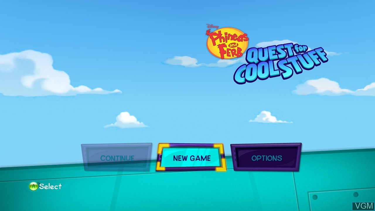 Menu screen of the game Phineas and Ferb - Quest for Cool Stuff on Microsoft Xbox 360