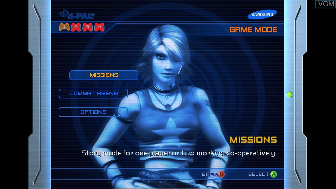 Menu screen of the game Perfect Dark Zero on Microsoft Xbox 360