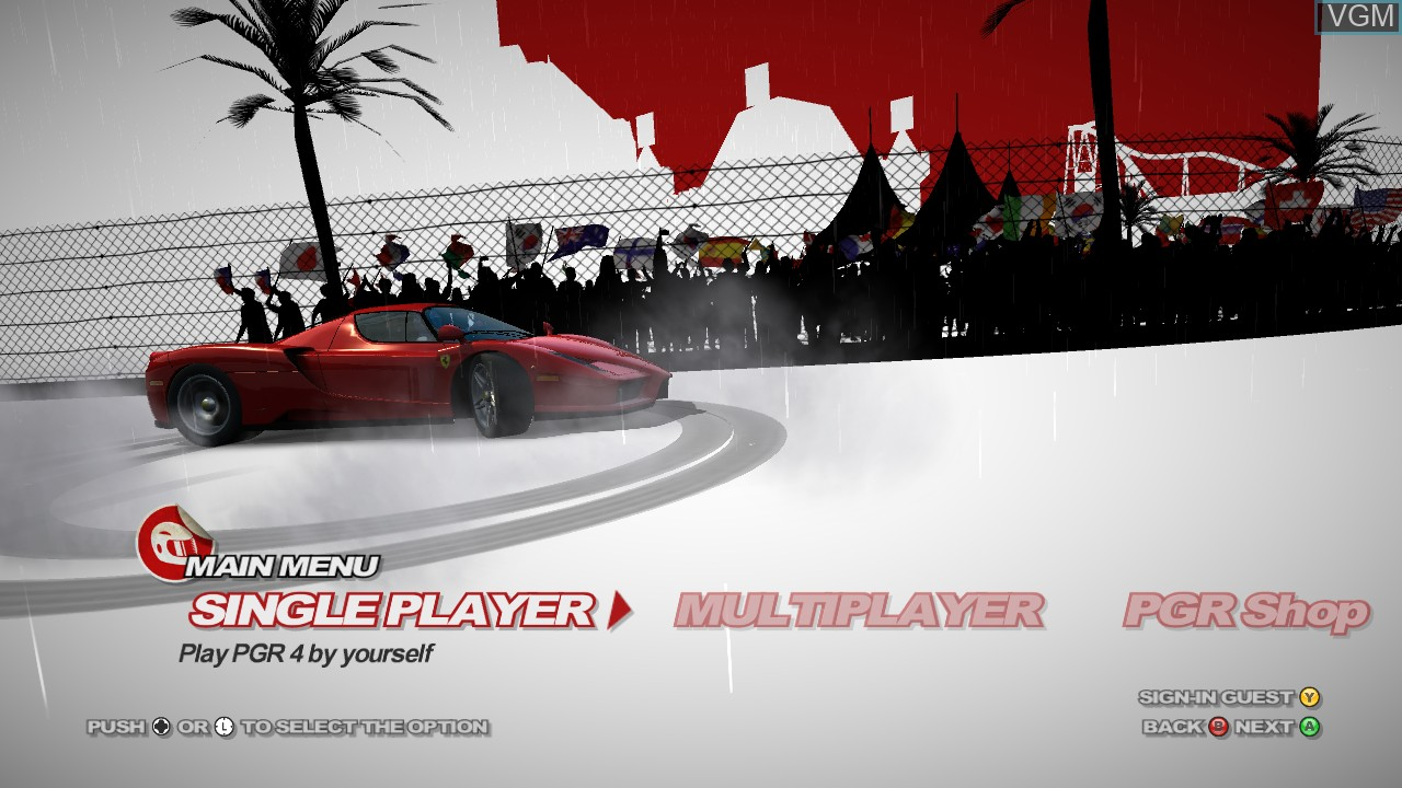 Menu screen of the game Project Gotham Racing 4 on Microsoft Xbox 360