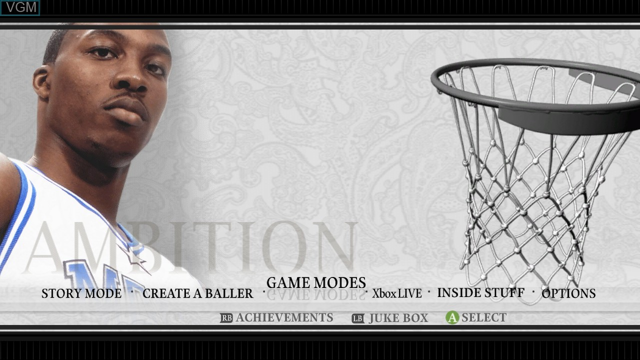 Menu screen of the game NBA Ballers - Chosen One on Microsoft Xbox 360