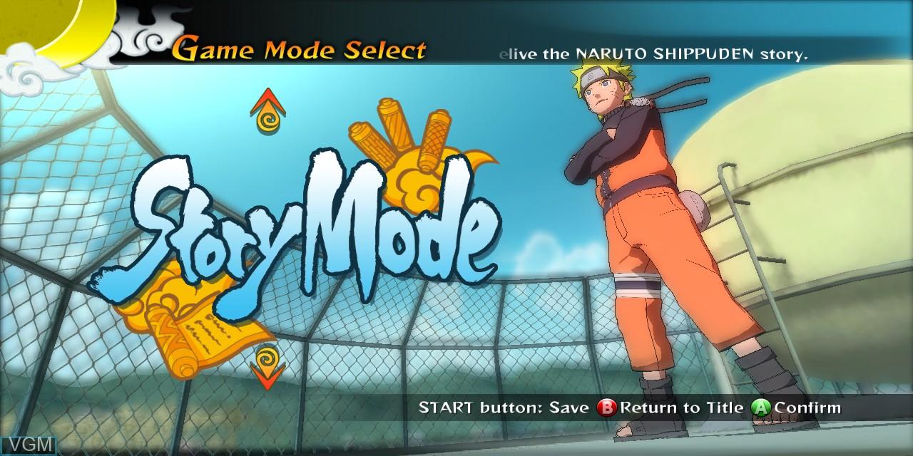 Menu screen of the game Naruto Shippuden - Ultimate Ninja Storm Generations on Microsoft Xbox 360
