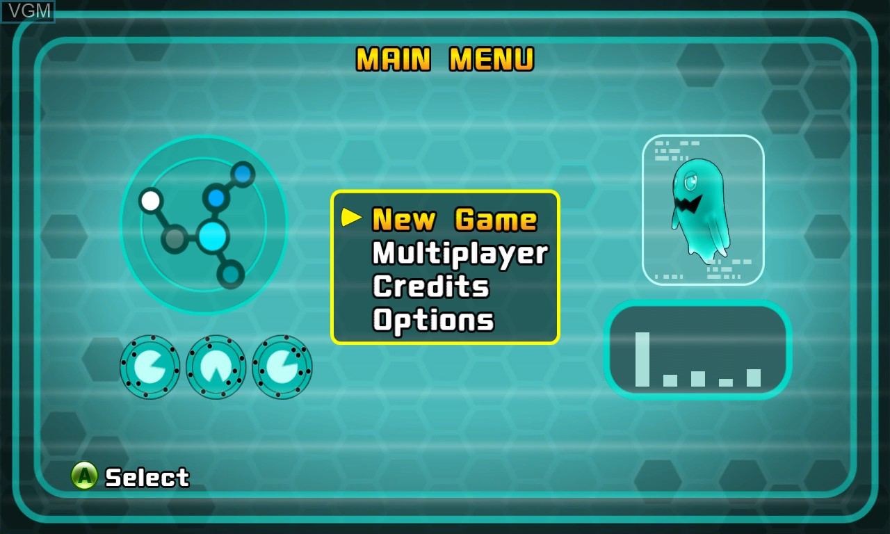 Menu screen of the game Pac-Man and the Ghostly Adventures on Microsoft Xbox 360