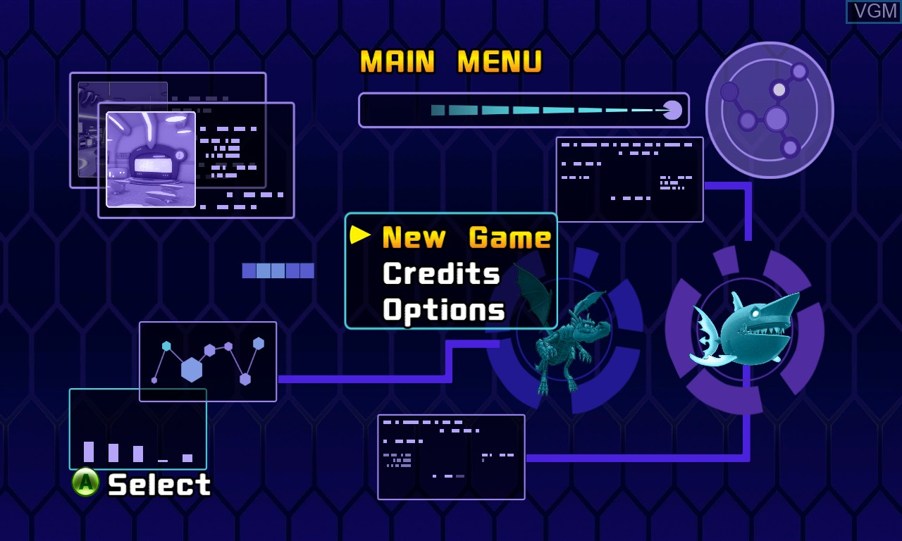 Menu screen of the game Pac-Man and the Ghostly Adventures 2 on Microsoft Xbox 360