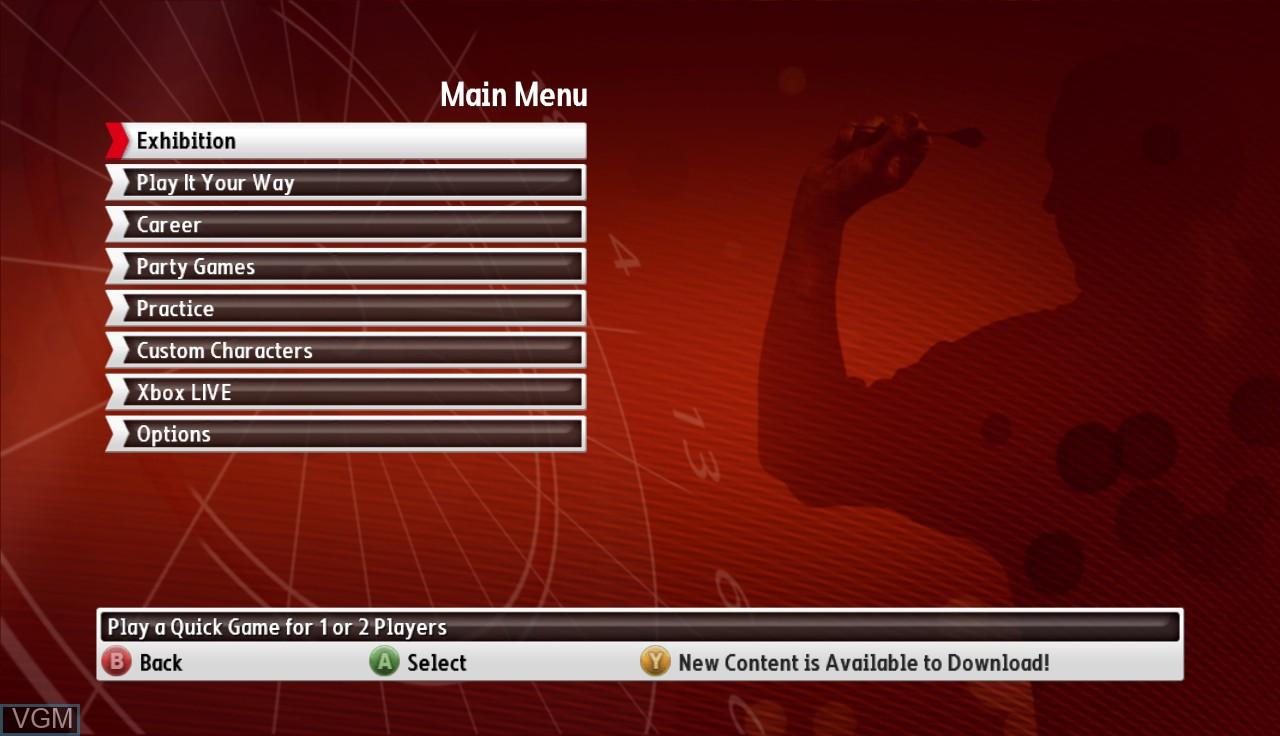 Menu screen of the game PDC World Championship Darts - Pro Tour on Microsoft Xbox 360