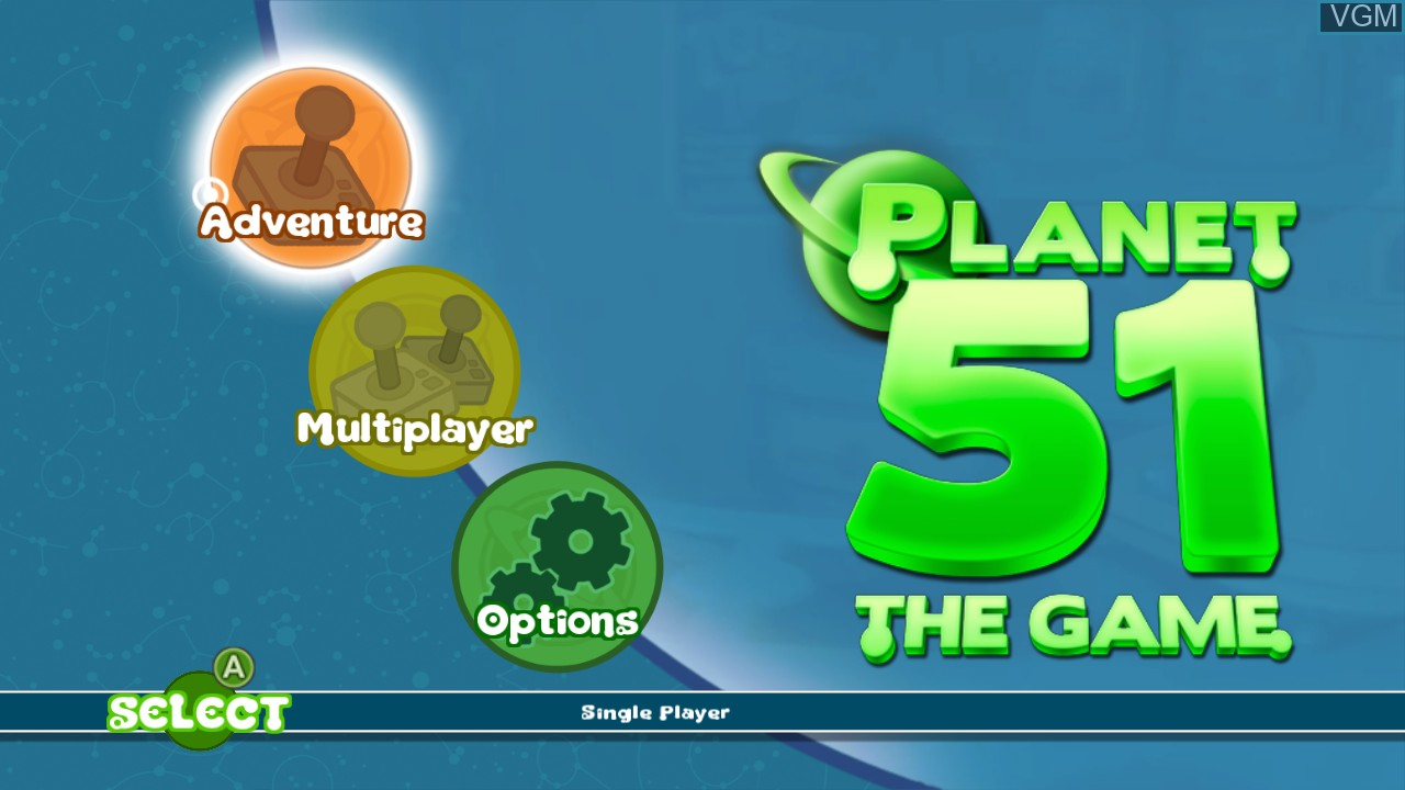 Menu screen of the game Planet 51 on Microsoft Xbox 360