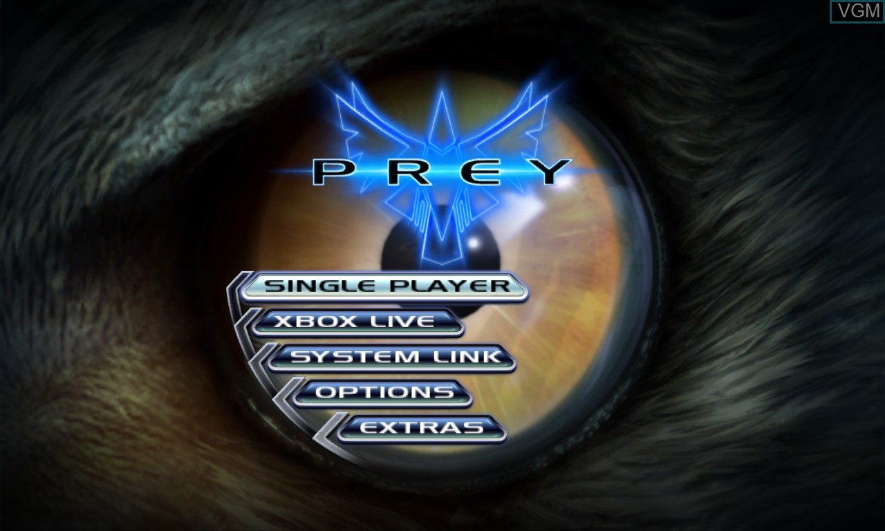 Menu screen of the game Prey on Microsoft Xbox 360