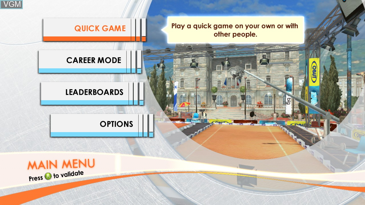 Menu screen of the game Obut Petanque 2 on Microsoft Xbox 360