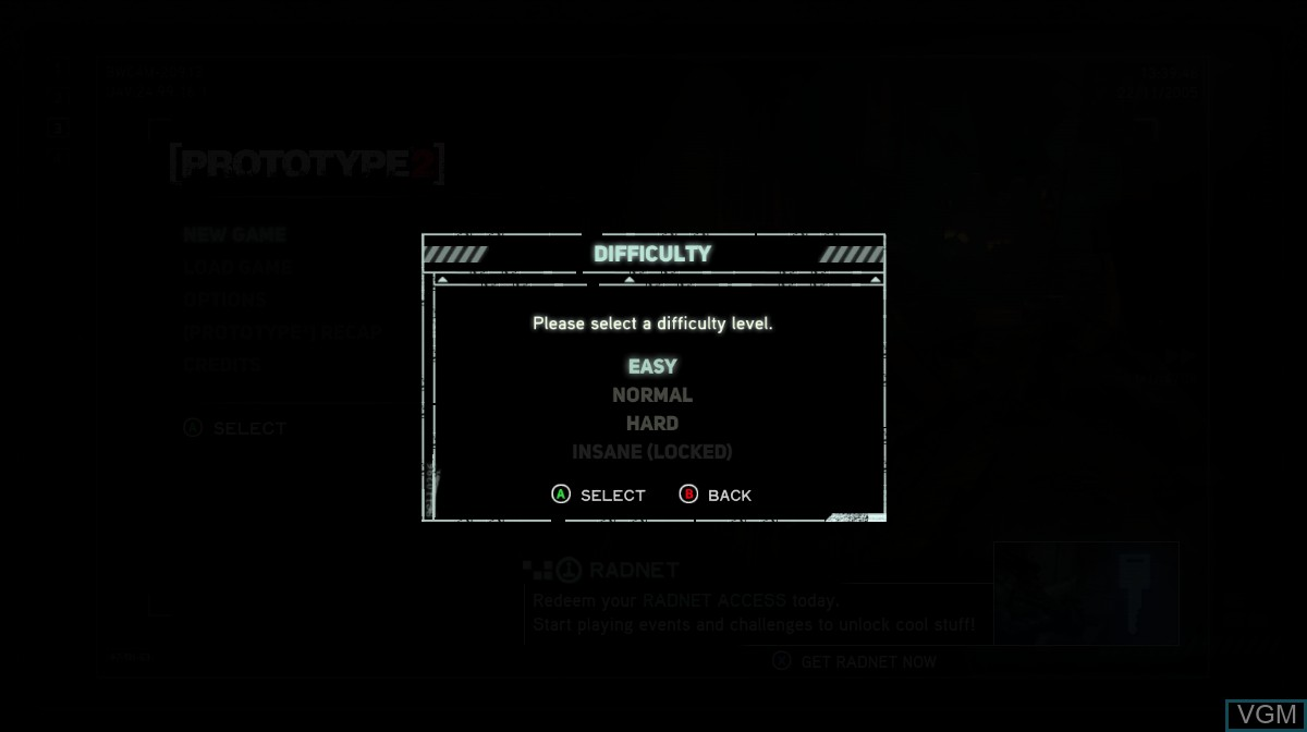 Menu screen of the game Prototype 2 on Microsoft Xbox 360