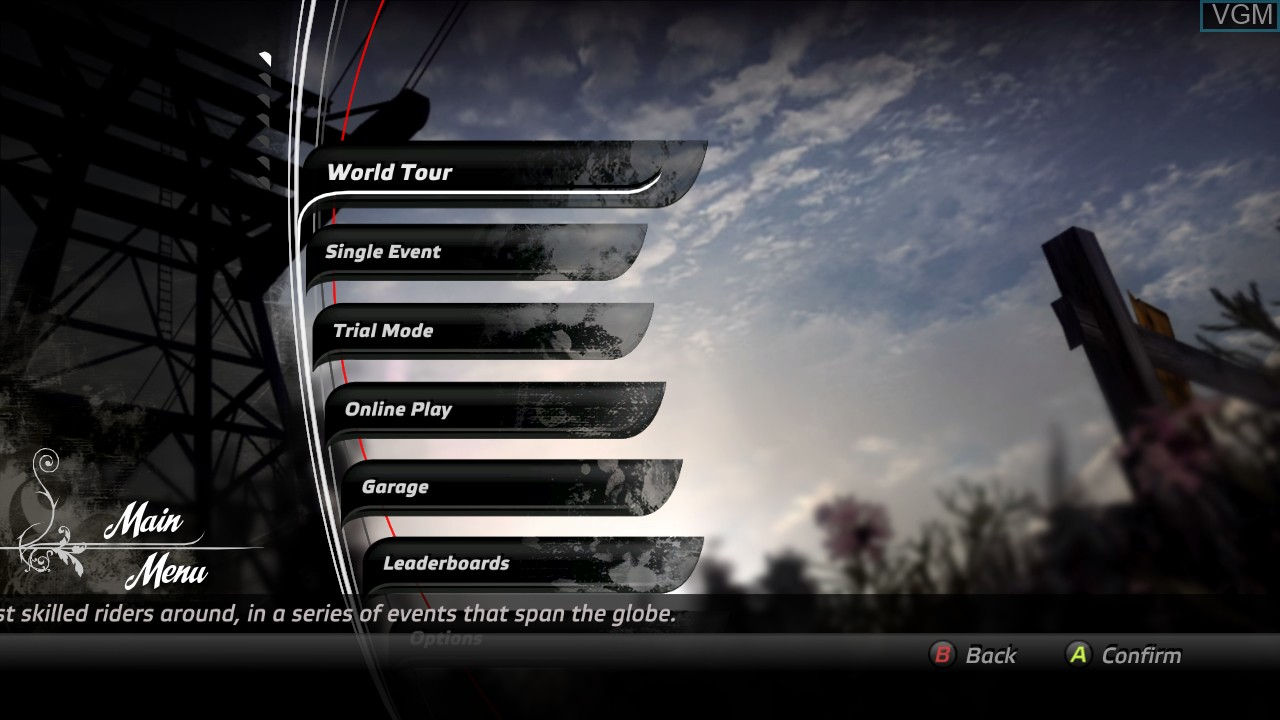 Menu screen of the game Pure on Microsoft Xbox 360