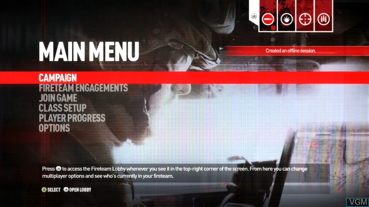 Menu screen of the game Operation Flashpoint - Red River on Microsoft Xbox 360