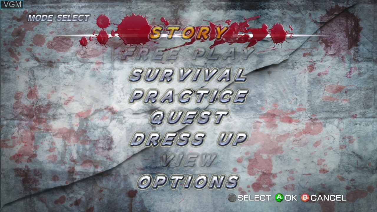 Menu screen of the game Onechanbara - Bikini Samurai Squad on Microsoft Xbox 360