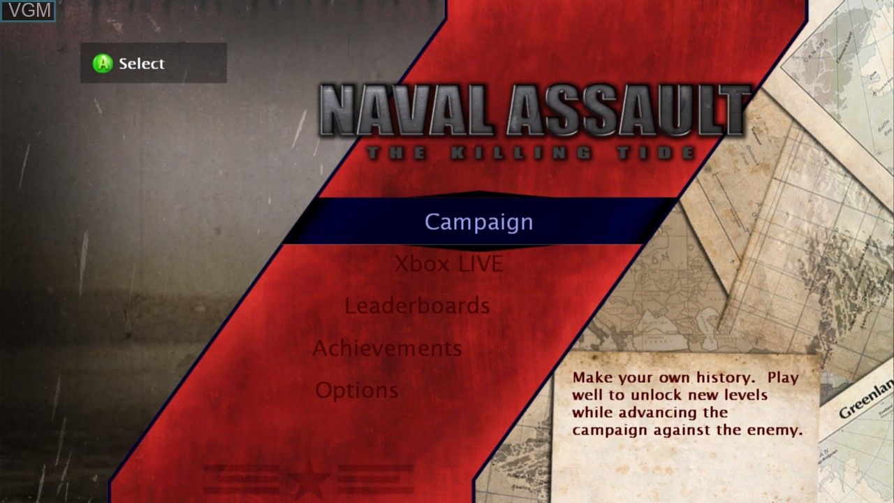 Menu screen of the game Naval Assault - The Killing Tide on Microsoft Xbox 360