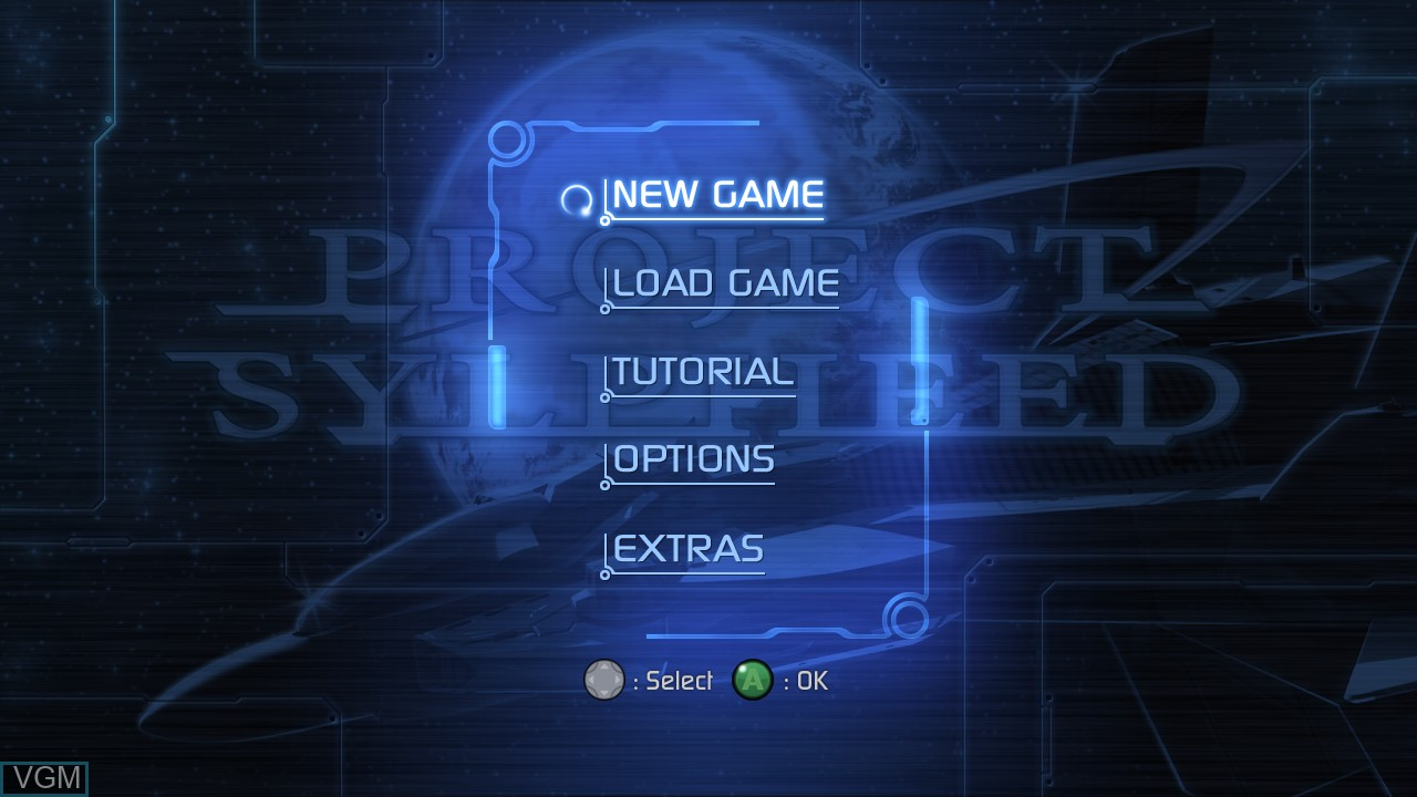 Menu screen of the game Project Sylpheed on Microsoft Xbox 360