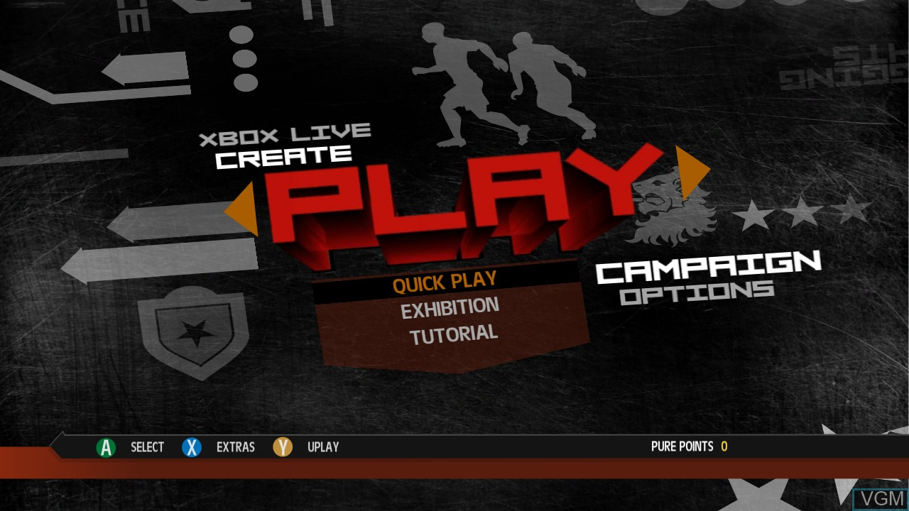 Menu screen of the game Pure Football on Microsoft Xbox 360