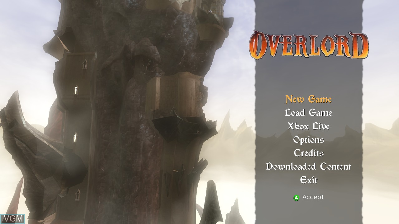 Menu screen of the game Overlord on Microsoft Xbox 360