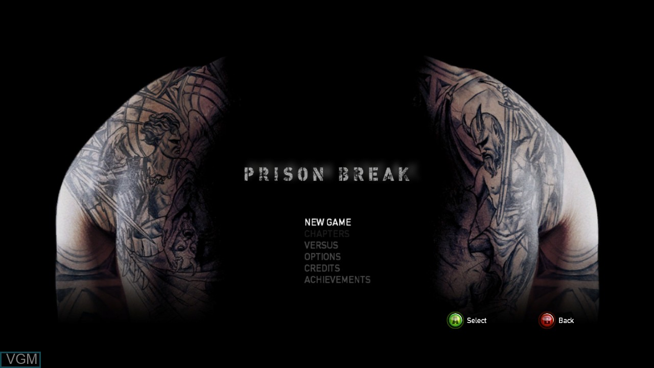 Menu screen of the game Prison Break - The Conspiracy on Microsoft Xbox 360
