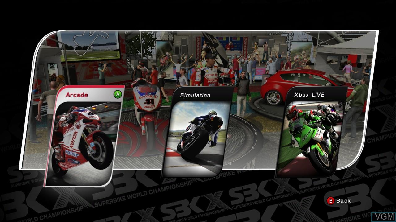 Menu screen of the game SBK X - Superbike World Championship - JP Edition on Microsoft Xbox 360