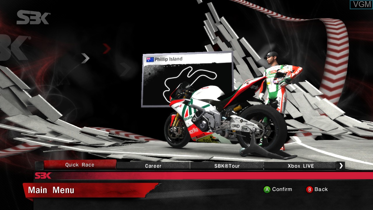 Menu screen of the game SBK 2011 on Microsoft Xbox 360