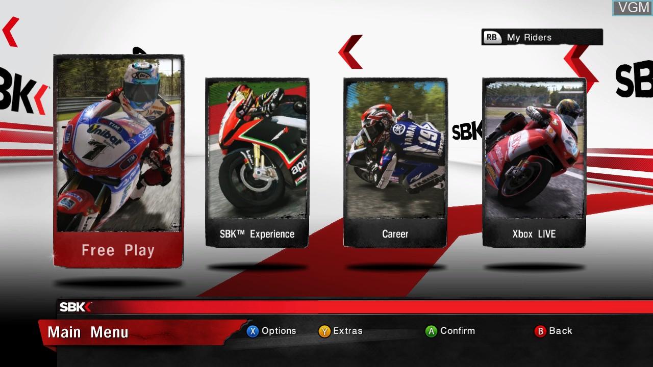 Menu screen of the game SBK Generations on Microsoft Xbox 360