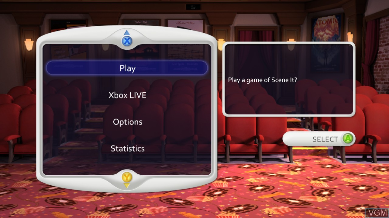 Menu screen of the game Scene It? Box Office Smash on Microsoft Xbox 360