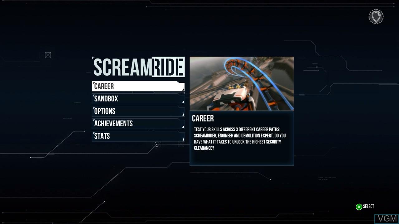 Menu screen of the game ScreamRide on Microsoft Xbox 360