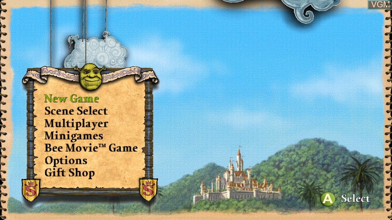 Menu screen of the game Shrek the Third on Microsoft Xbox 360