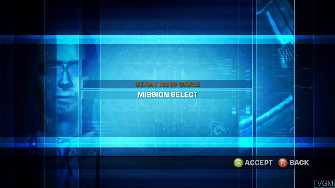 Menu screen of the game Secret Service on Microsoft Xbox 360