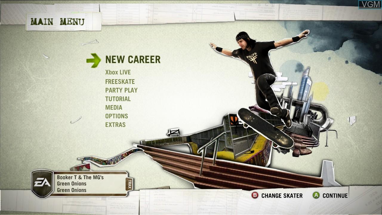 Menu screen of the game Skate on Microsoft Xbox 360