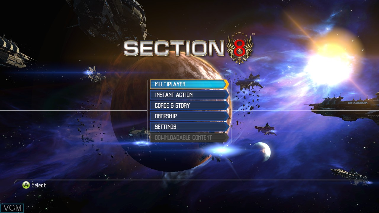 Menu screen of the game Section 8 on Microsoft Xbox 360