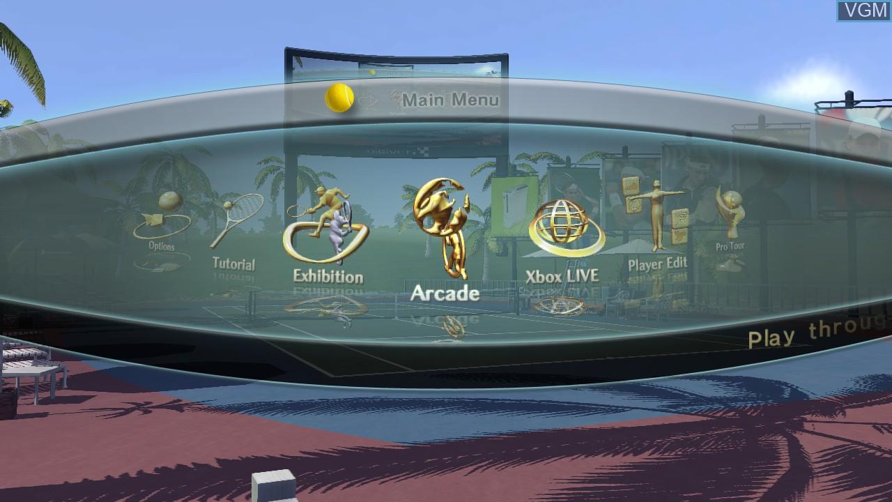 Menu screen of the game Smash Court Tennis 3 on Microsoft Xbox 360