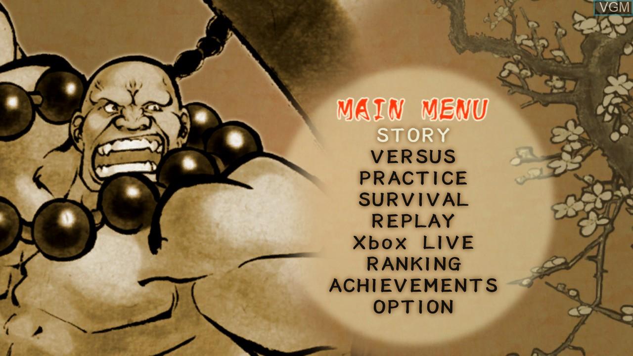 Menu screen of the game Samurai Shodown Sen on Microsoft Xbox 360