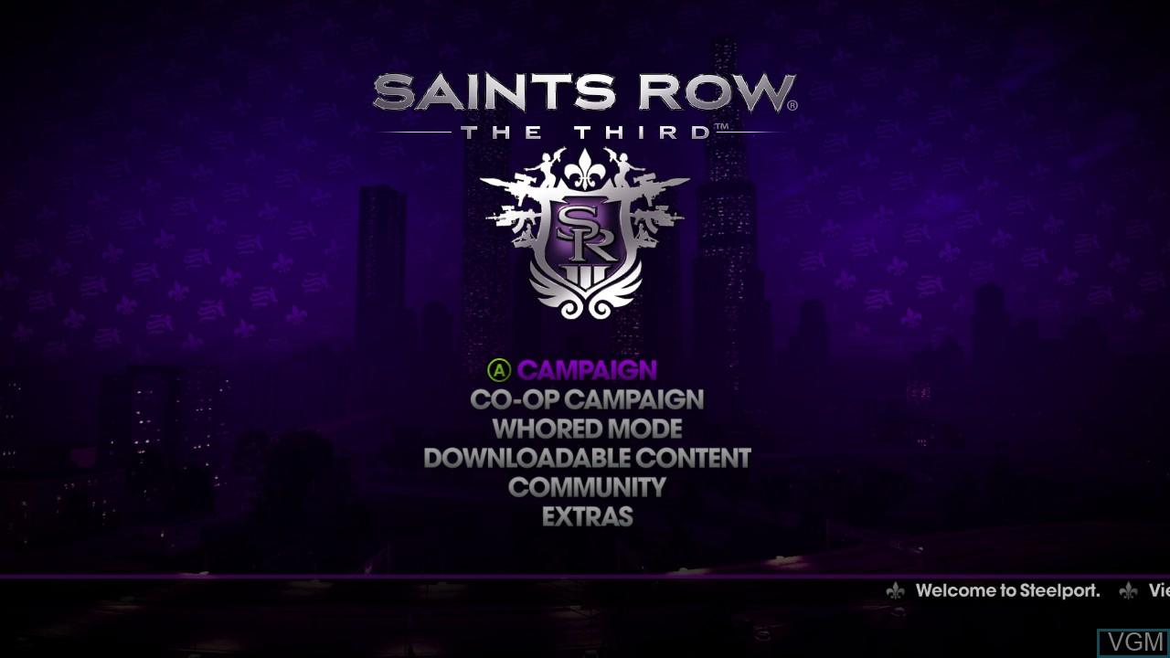 Menu screen of the game Saints Row - The Third on Microsoft Xbox 360