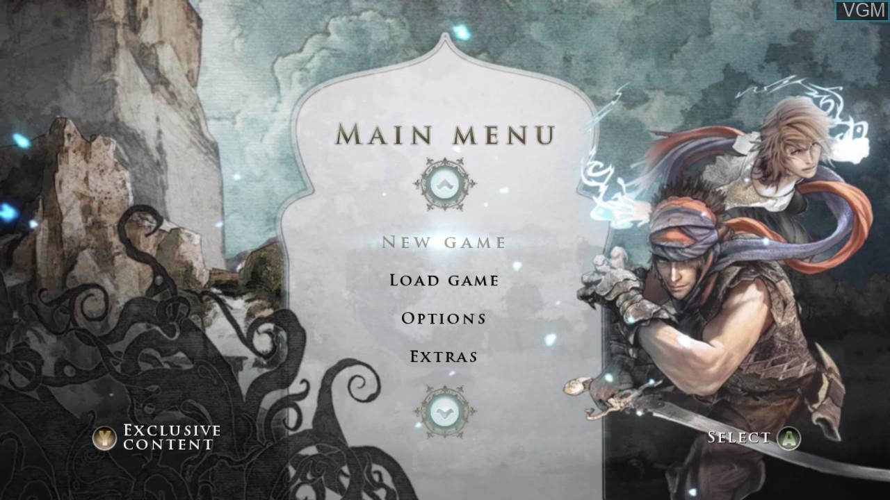 Menu screen of the game Prince of Persia on Microsoft Xbox 360