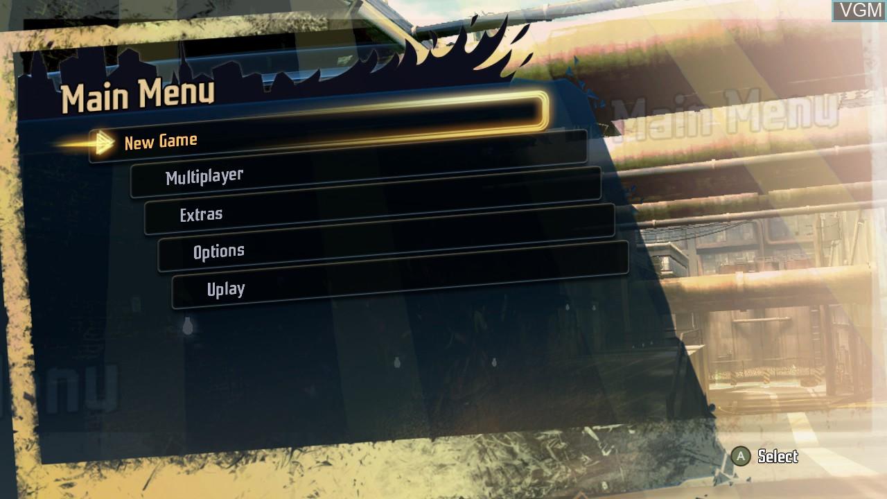 Menu screen of the game Shaun White Skateboarding on Microsoft Xbox 360