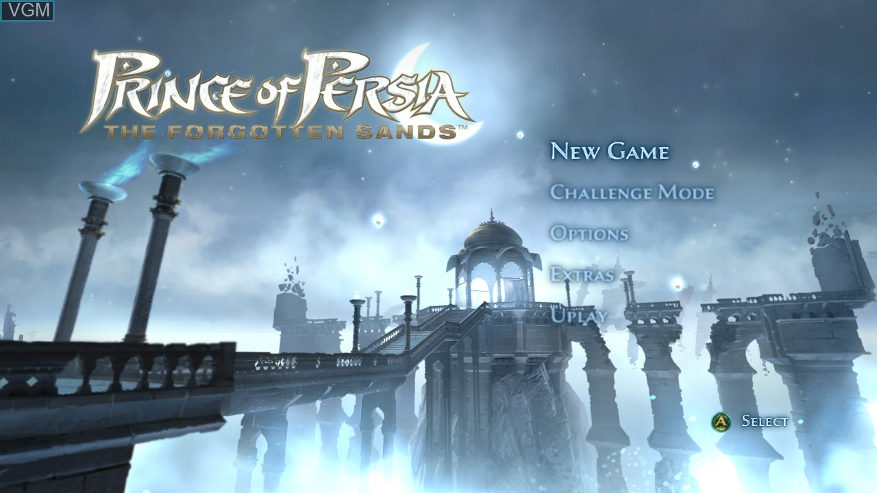 Menu screen of the game Prince of Persia - The Forgotten Sands on Microsoft Xbox 360