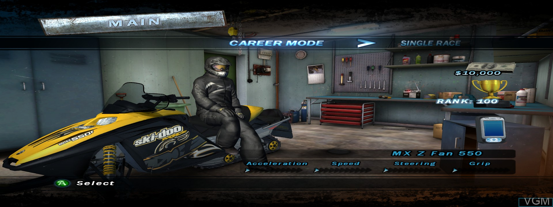 Menu screen of the game Ski Doo - Snowmobile Challenge on Microsoft Xbox 360