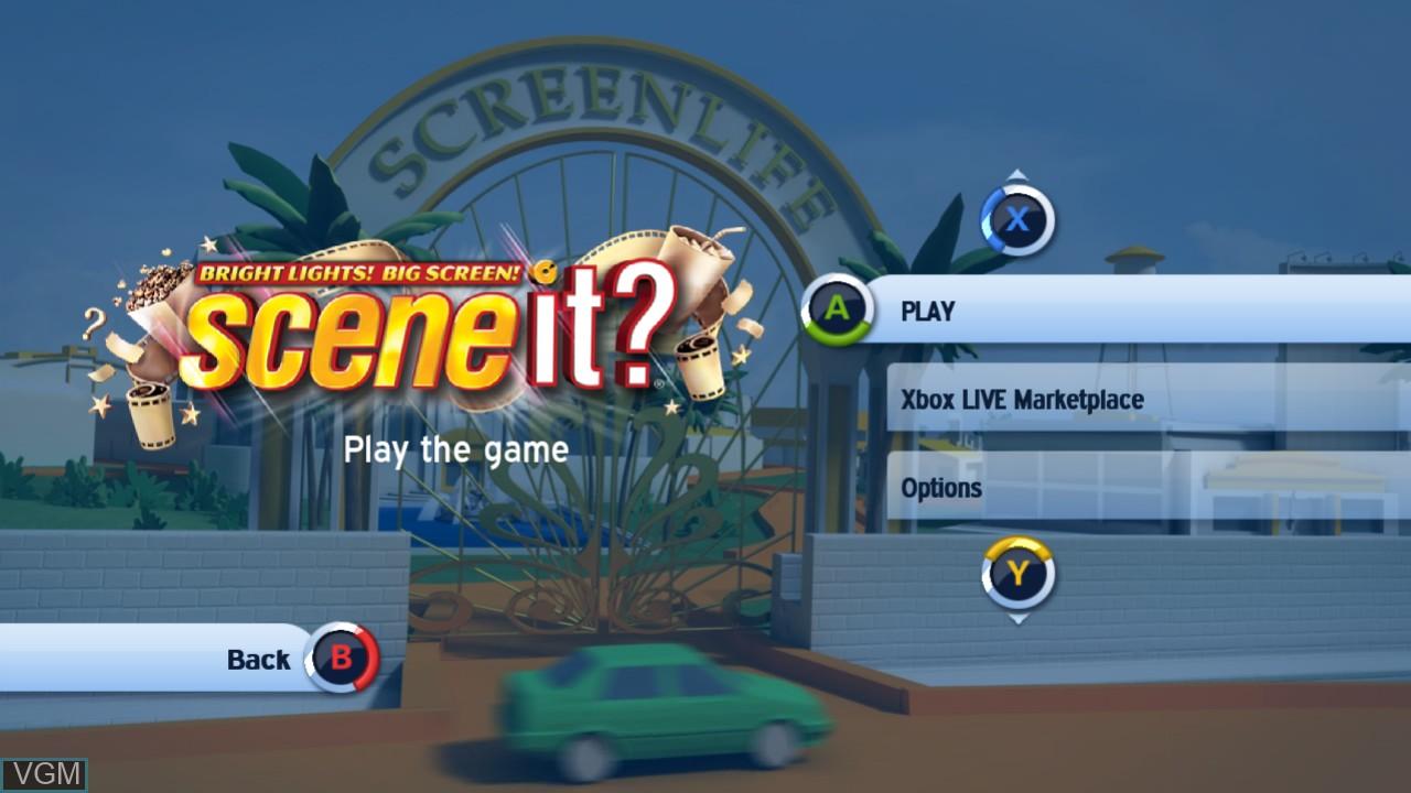 Menu screen of the game Scene It? Bright Lights! Big Screen! on Microsoft Xbox 360