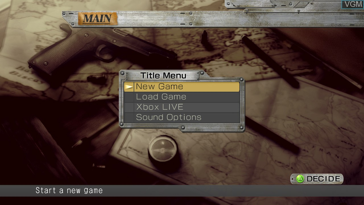 Menu screen of the game Operation Darkness on Microsoft Xbox 360