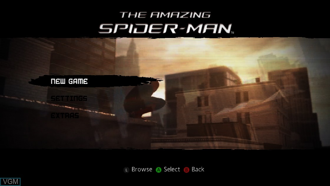 Menu screen of the game Amazing Spider-Man, The on Microsoft Xbox 360