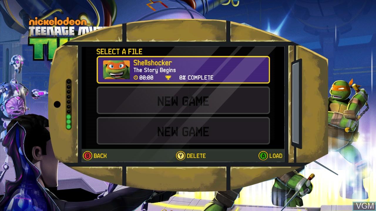 Menu screen of the game Teenage Mutant Ninja Turtles - Danger of the Ooze on Microsoft Xbox 360