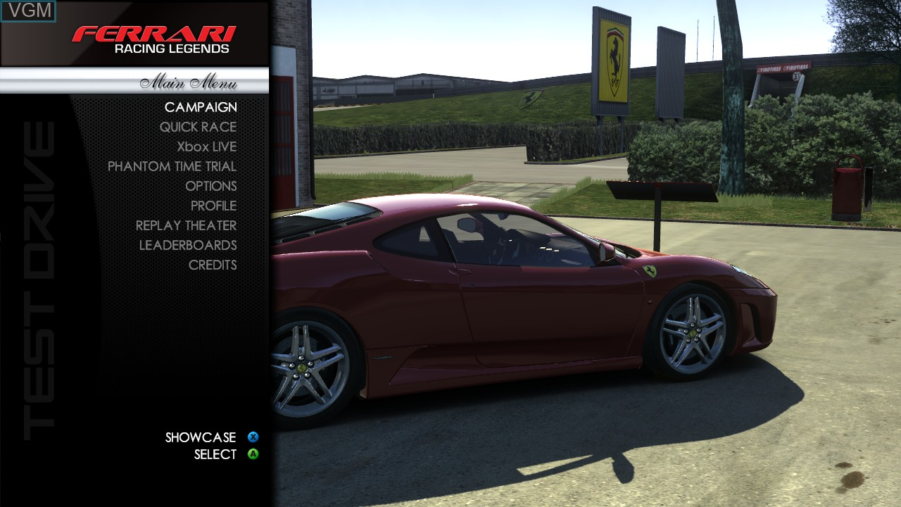 Menu screen of the game Test Drive - Ferrari Racing Legends on Microsoft Xbox 360